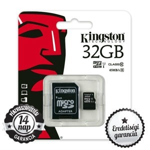 32GB KINGSTON microSDHC+SD ADAPTER CLASS 10 UHS-I 1 45MB/s