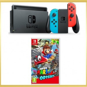 Nintendo Switch konzol, neon red&blue Joy-Con + Super Mario Odyssey játék